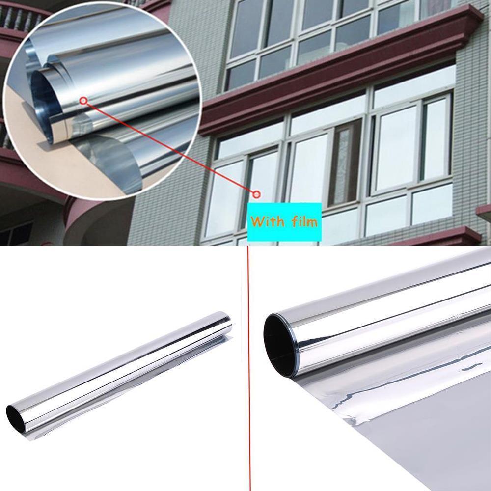 0.9x5m Window Film Anti-UV One Way Silver Mirrored Film Heat Control Home Interiors Privacy Static Glass Window Tint Vinyl цена