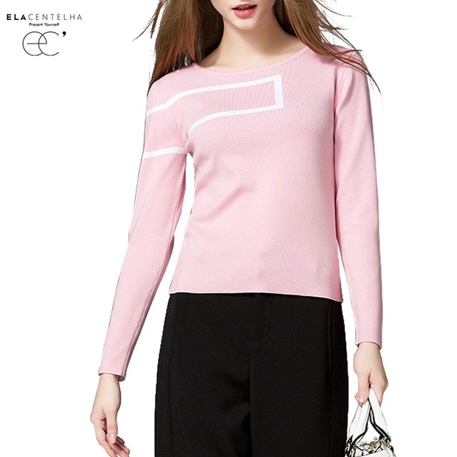 ElaCentelha Women Autumn Winter 2016 Knitted Sweater Pullover Striped Slim Woman Long Sleeves O Neck Plus Size Casual Sweater