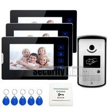"""Chuangkesafe Home Wired 7 """"Video de La Puerta Sistema de Intercomunicación Teléfono + 3 Monitores de Pantalla táctil + Cámara de Acceso RFID A Prueba de agua En la Acción-"""