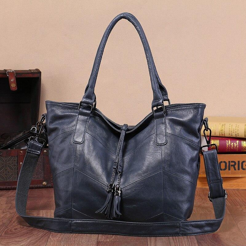 ผู้หญิงกระเป๋าถือความจุขนาดใหญ่ Casual Tote คุณภาพสูงกระเป๋าสะพายกระเป๋าสุภาพสตรี Crossbody กระเป๋า 100% แท้กระเป๋าหนัง-ใน กระเป๋าสะพายไหล่ จาก สัมภาระและกระเป๋า บน   3