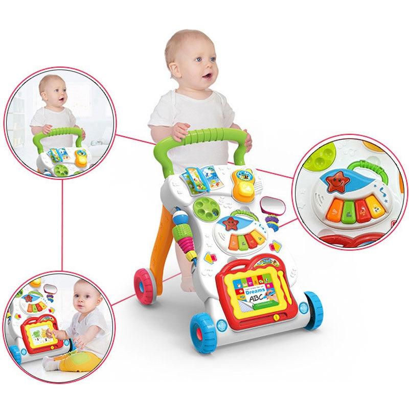 2019 bébé cadeau bébé marcheur Musical bambin chariot marcheur pour enfant apprentissage précoce éducatif bébé premiers pas voiture réglable