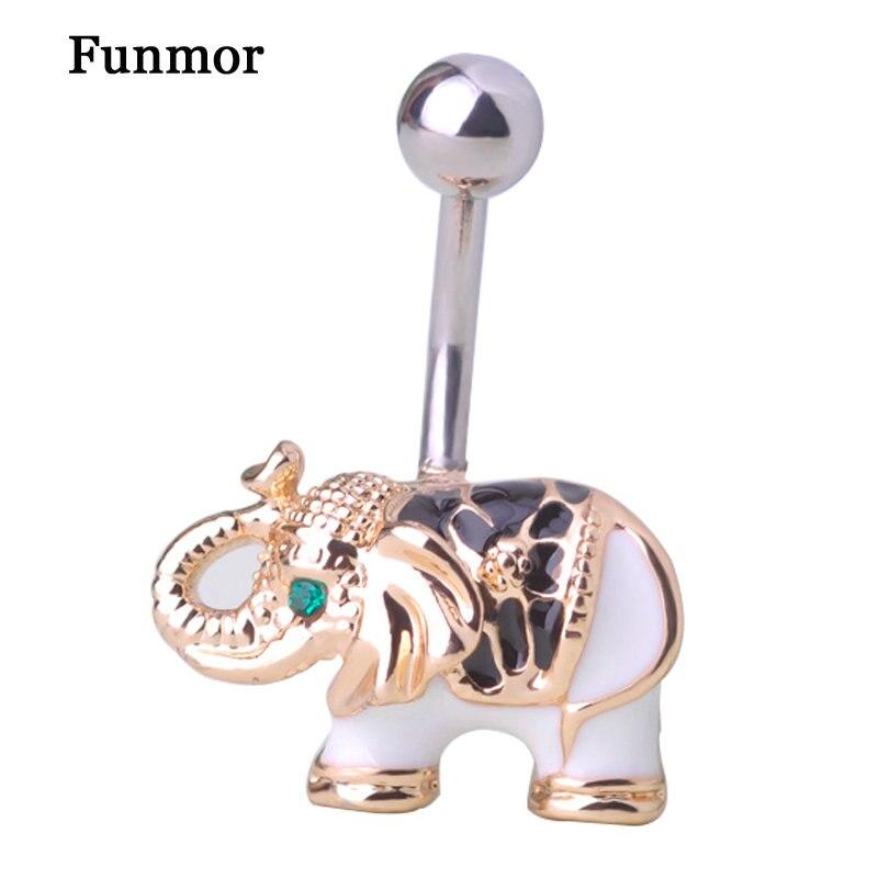 ᗗVenta a granel Esmalte elefante ombligo Piercings oro-color ...