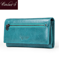 Contact's Brand Design Coin Purse Genuine Leather Women Wallets Female Card Holder Long Lady Clutch Wallet With Phone Pockets