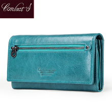 Contacts Genuine Leather wallet women rfid Card Holder wallets for women long hasp coin purse female clutch bag portfel damski