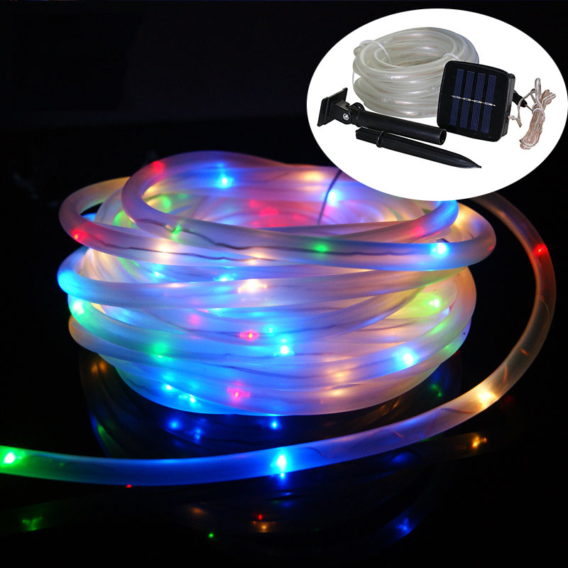 Solar Power LED Rope Tube String Light 10M 100led Outdoor ...