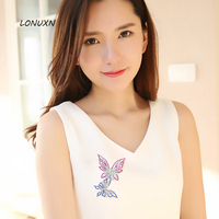 8.1*5.5cm High quality female jewelry girls white crystal jewelry brooch pins purple butterflies plant lovers best gift
