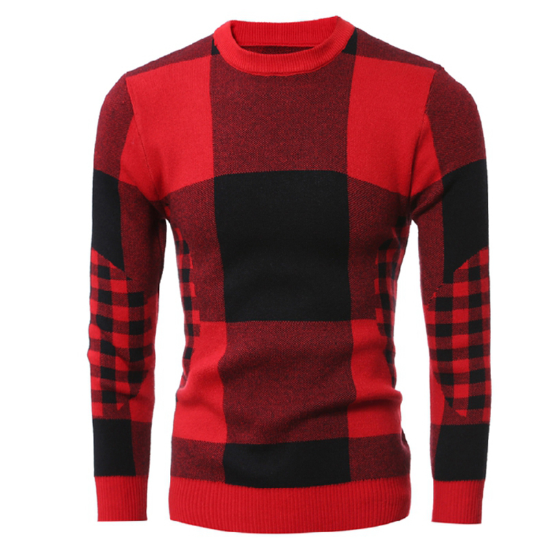 WSGYJ Sweater Men Plaid Knitted 2019 Casual Pullover Men Christmas Sweater Jumper Round Neck Slim Fit Knitwear Red Black