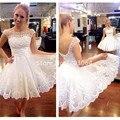 2016 una línea de Mini blanco cóctel vestidos con encaje perlas hermosas Appliques Tulle partido corto Prom Sheer vestido de graduación vestido