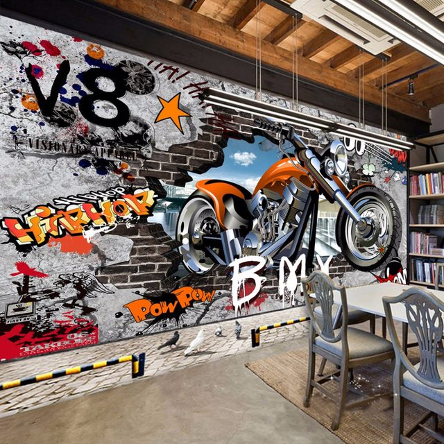 Online Shop High Quality Custom Wall Murals Wallpaper Motorcycle