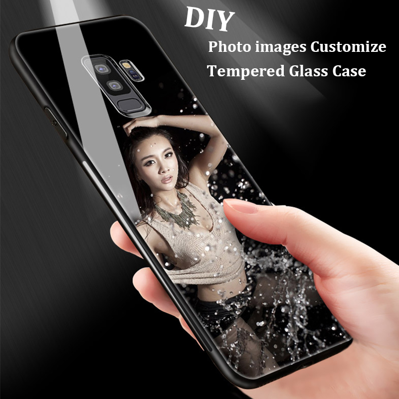 DIY Photo Customize Phone Case For Samsung Galaxy S9 S9 Plus S8 Note 8 Tempered Glass Cover For iPhone 8 8 Plus X 7 6 6S Case