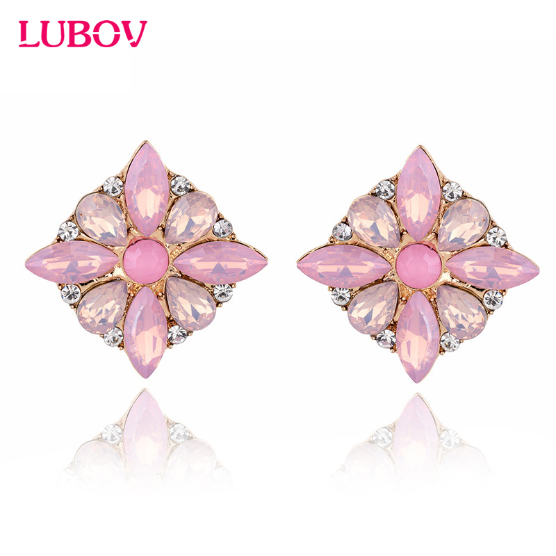 2018 Baru Kedatangan Empat Daun Bunga Opal Batu Stud Earrings Wanita Fashion Terbaru Persegi Resin Anting Perhiasan Elegan ...