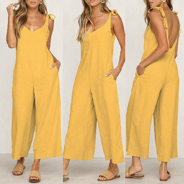 Sexy Solid Backless jumpsuits women V neck spaghetti strap long overalls Summer beach loose female jumpsuit 2019 6