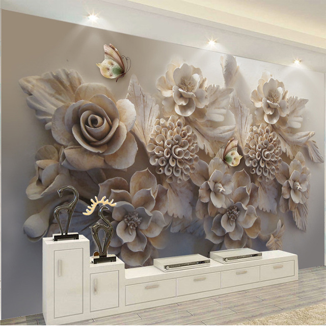 Custom Mural 3D Wallpaper European Aesthetic Three-dimensional Relief 3D Flower Butterfly Living Room Sofa Background Wallpaper
