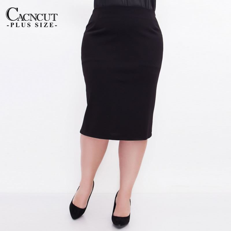 CACNCUT Big Size High Waist Bag Thigh Skirt Business Casual Skirt For Women 2019 Plus Size Bodycon Pencil Office Skirt Black 6XL 8
