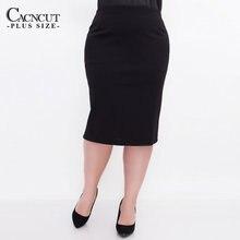 CACNCUT Big Size wysokiej talii torba spódnica udo biznes spódnica na co dzień dla kobiet 2019 Plus rozmiar Bodycon ołówek spódnica biurowa czarny 6XL