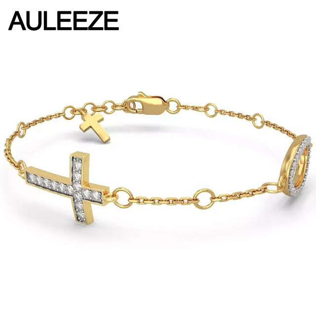 Cross Ellipse Design Natural Diamond Bracelets For Women Solid 14K Yellow Gold Wedding Anniversary Bracelets Fine Jewelry
