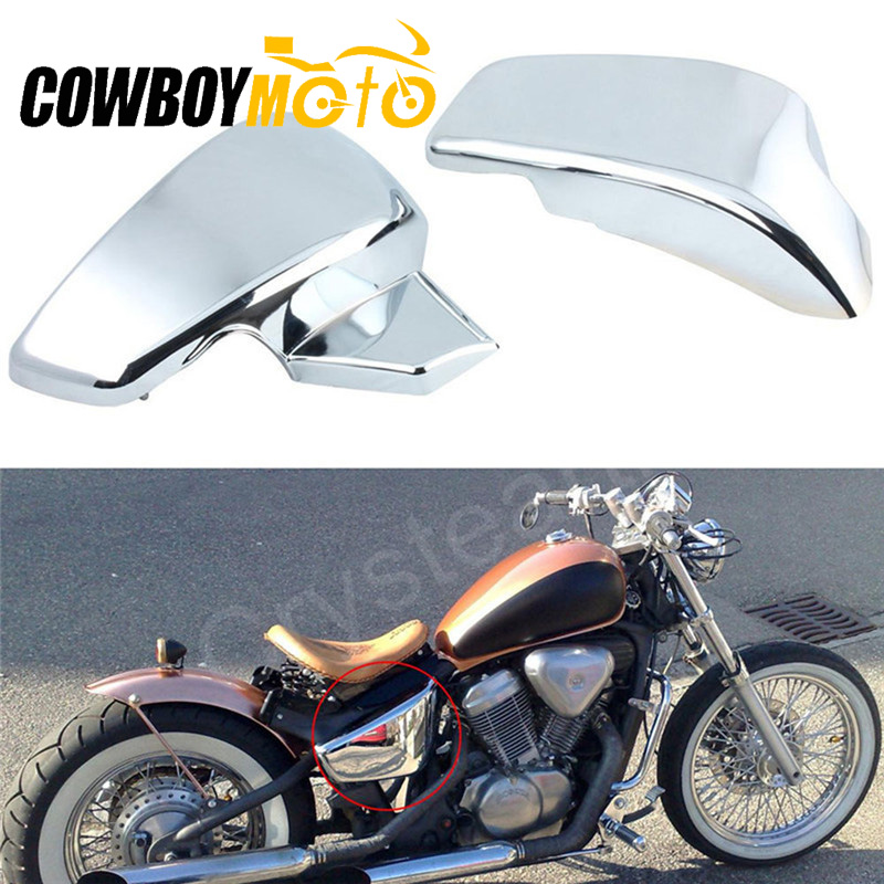 Chrome Black Motorcycle Side Battery Covers Fit Honda VT600 VT 600 C CD Shadow VLX Deluxe