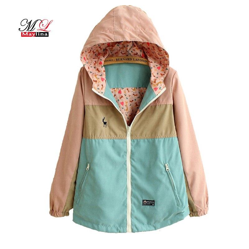 Maylina Spring Autumn Windbreaker Women Long Loose Cartoon Hooded Two Side Thin jacket Coat Female Windbreakers Jackets Clothes