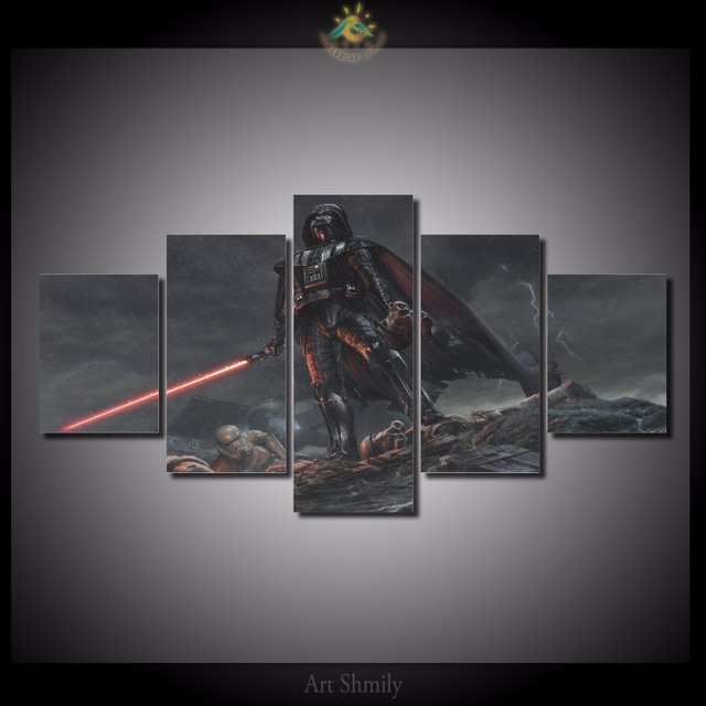 5 Pieces/set Darth Vader Hints In The Star Wars Printed Canvas