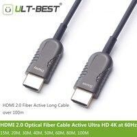 ULT BEST HDMI 2.0 волоконно оптический кабель Active Light Высокое Скорость Ultra HD 4 К 60 Гц HDMI2.0 субдискретизация 4:4:4/ 4:2:2/4:2:0 15 м 20 м 30 м