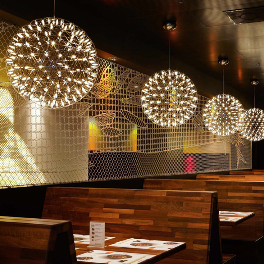 Post Modern Art Stainless Steel LED Pendant Lights Sparking Ball Hanging Lamp Lighting Fixtures Hotel Lobby Suspension Luminaire|Pendant Lights| |  - title=