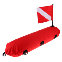 Portable Scuba Buoy Float with Dive Flag Professional Heavy Duty Diving Equipment for Surface Signalling Red White