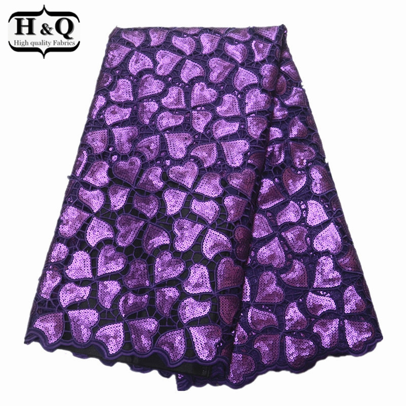 H&Q African organza lace fabric Popular embroidery lace fabric African hollow design style with sequins 5 yard/pcs for dressesH&Q African organza lace fabric Popular embroidery lace fabric African hollow design style with sequins 5 yard/pcs for dresses