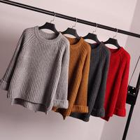Women Sweaters And Pullovers Winter Kawaii Harajuku 2016 Korean Cute Retro Shoulder Pullover Knit Oversized Sweater
