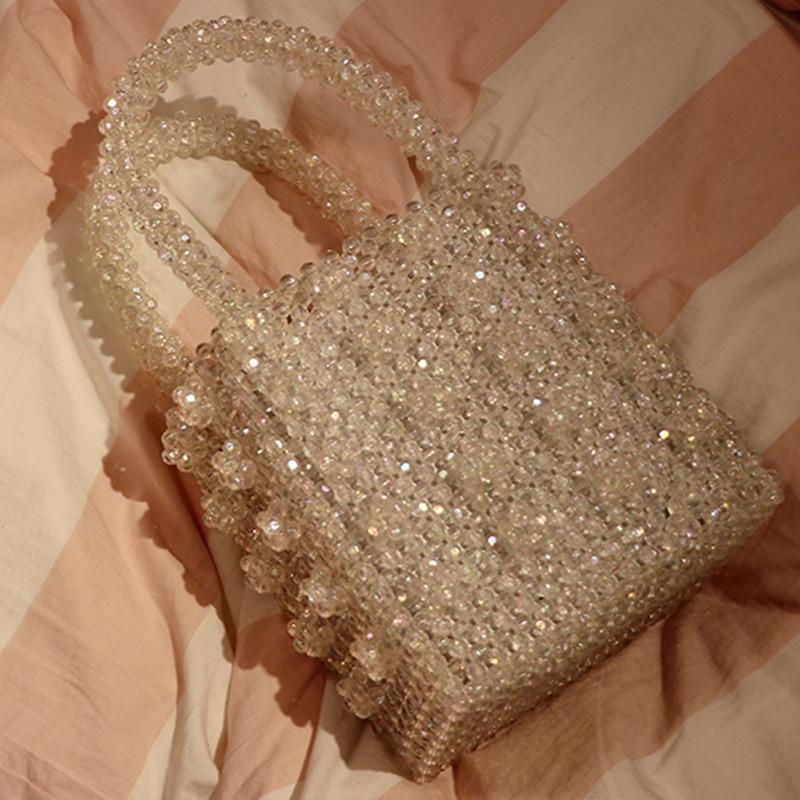 Crystal Lady Dinner Bag Handbag Ins Niche Artificial Crystal Weaving Heavy Industry Pearl Handbag Name Bag
