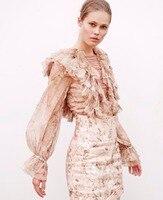 Для женщин Абрикос Цветочные bowerbird дразнили блузка шелковые оборки Топ