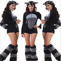 2016New high quality Animal Costume Footed Adult Furry With Tail Fur Cosplay Costume Sexy black Cat Halloween Costume for Women