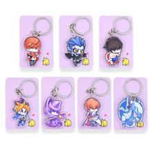 Death Note Key Chians Chibi Yu-Gi-Oh Cartoon Keyrings Double Sided Cute Anime Acrylic Keychain Accessories PCB21-27(China)