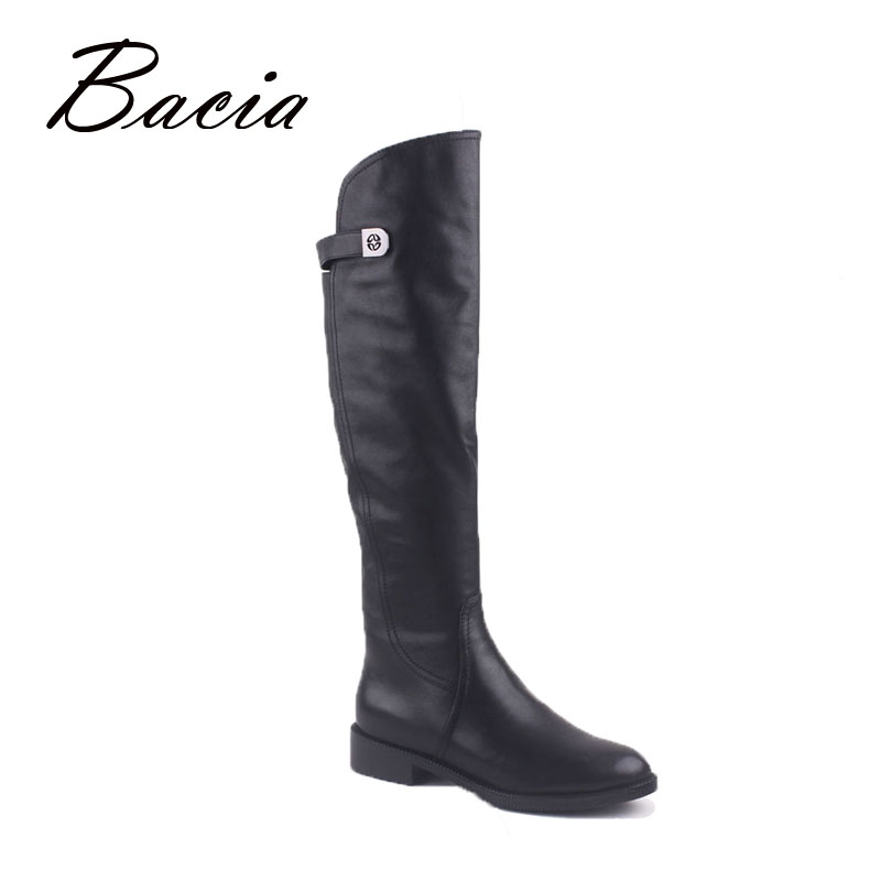 Bacia Over-Knee-Hight Leather Boots With Irregular Top For Women Inside with Wool Fur & Short Plush Warm Winter Shoes 2016 VD001 bacia women genuine leather over knee boots low heel shoes warm wool fur