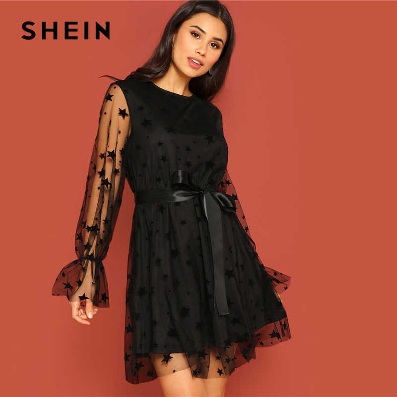 892e7d168 SHEIN negro estrella de la superposición de malla de manga de campana cinta  vestido las mujeres de la primavera cuello ajuste y llamarada una línea ...