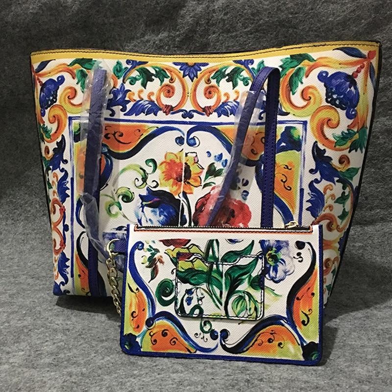 Luxury Italy Brand Sicily Ethnic Floral Bag Genuine Leather Sicilian Shopper Tote Famous Designer Shoulder Bag Handbag and Purse