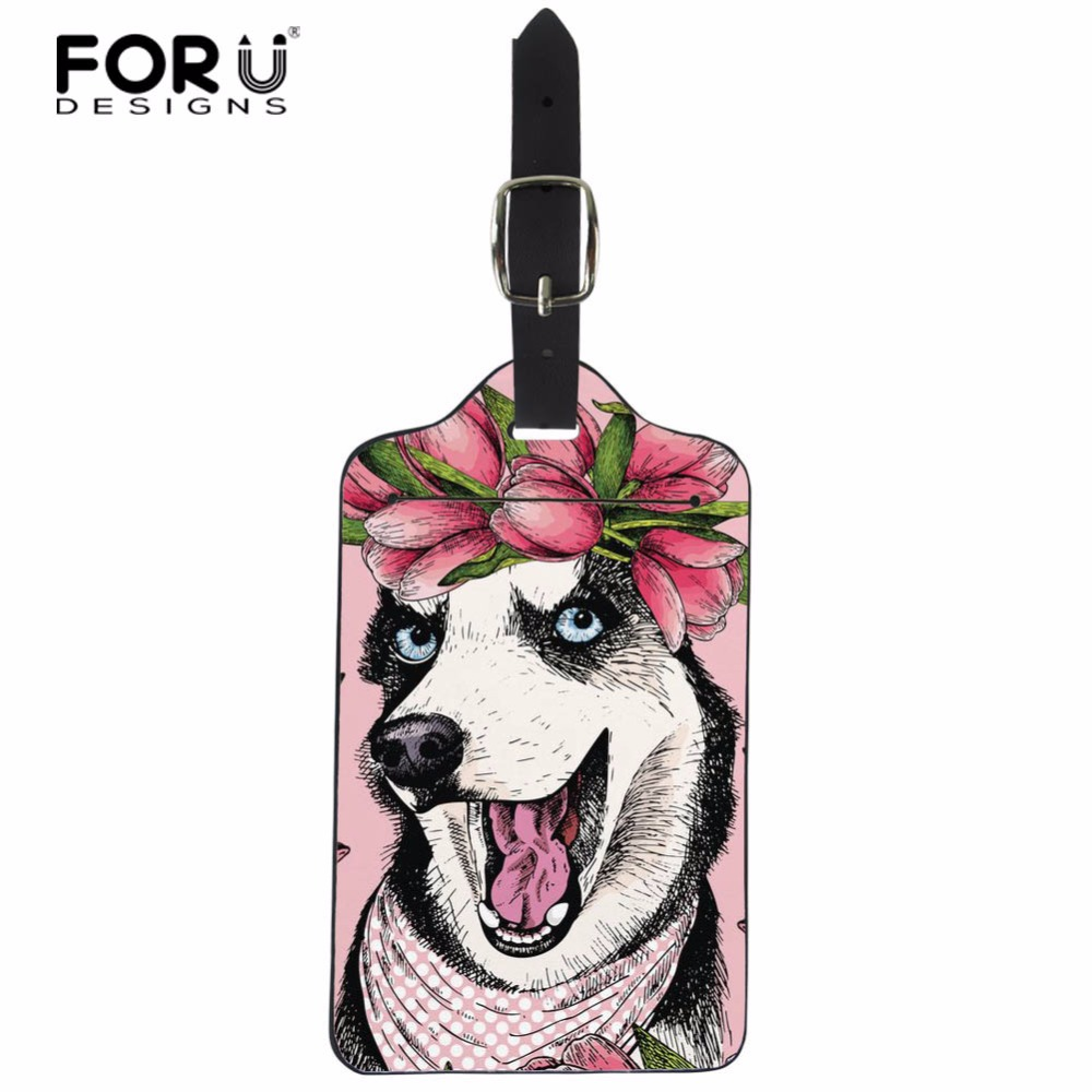 Set of 2 Colourful Flower And Boston Terrier PU Leather Luggage Tags Suitcase Labels Bag Travel Accessories