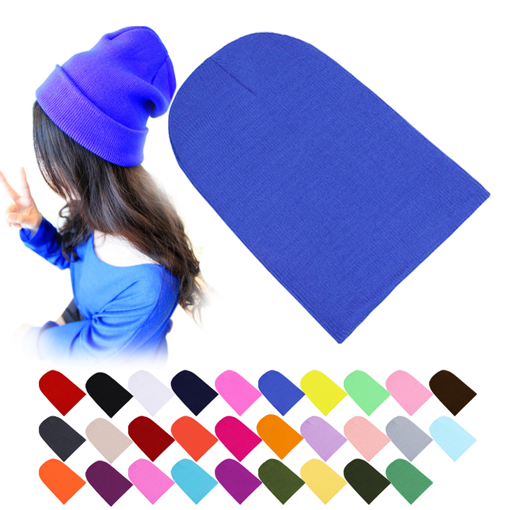 Winter Warm Hats Unisex Knitting font b Women b font Men Wool Fluorescence Color Tabby Solid