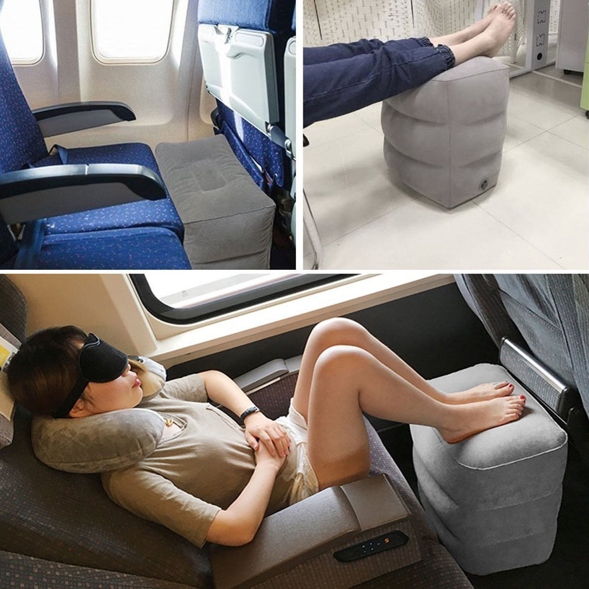Hot Sale Soft Inflatable Footrest Pillow Kids Flight Travel Sleeping Pillow Portable Air Cushion Home Office Footrest Pillow