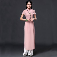 Folk style Vietnam robes Wide Leg Pants Suit two pieces Chiffon aodai Graceful Stand Collar Elegant Improved Long Cheongsam