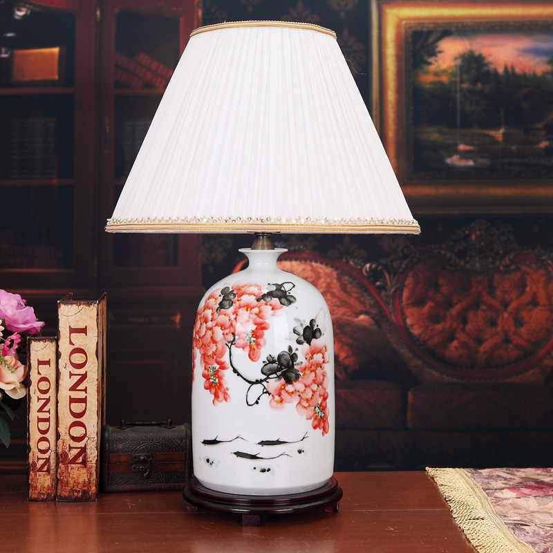 US $278.0  Jingdezhen Chinese creative ceramic table lamp bedroom study  living room dining room decoration vintage porcelain table lamp-in Table  Lamps ...