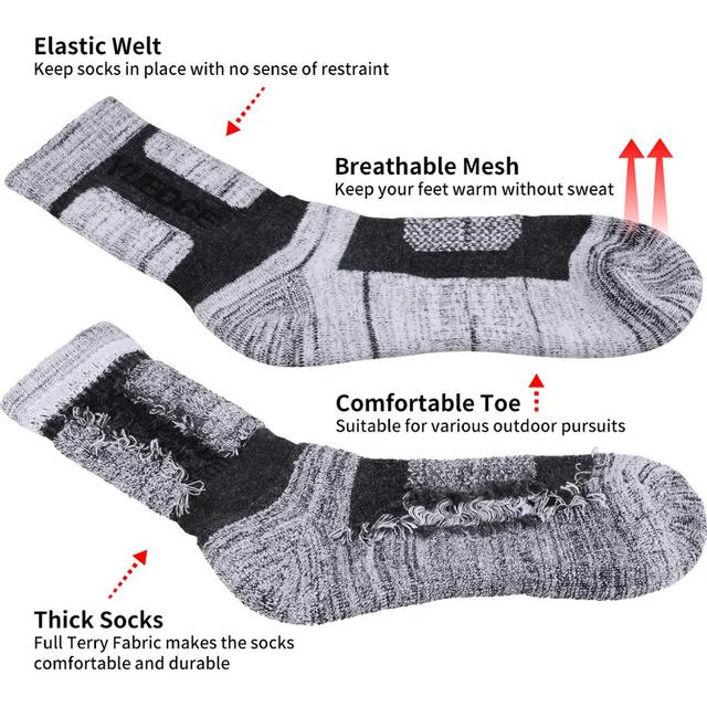 YUEDGE 5 Pairs Men Cotton Socks Brand New Casual Business Warm Thicken Anti-Bacterial Deodorant Breatheable Man Long Hiking Sock 1