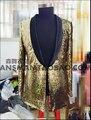M-5xl nuevo 2015 hombres discoteca cantante DJ derecha Zhi-Long GD FM champán oro lentejuelas chaquetas del juego de largo trajes ropa