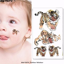 Nu-TATY Junior Tiger Child Temporary Body Art Flash Tattoo Sticker 10x17cm Waterproof Painless Henna Selfie Tattoo Stickers