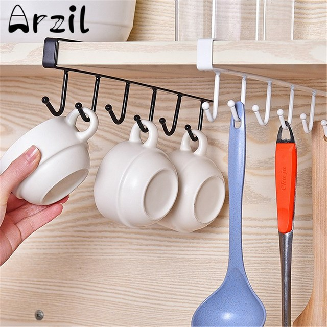 Kitchen Cabinet Under Shelf 6 Hooks Cup Holder Iron Hanging Storage Rack  Glass Mug Mokken Organiser