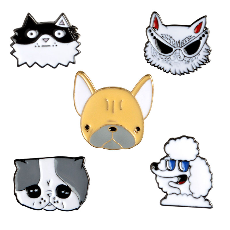 5 PCS / SET Cartoon Cartoon Cute Dogs Metal Emalje Pin Animal Sign Smykker Til stede hundegave Engros smykker Salg