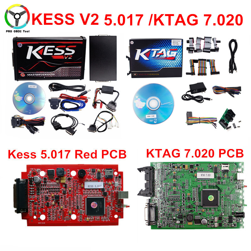 Professional ECU Chip Tuning Tool KESS V2 5.017/ Ktag 7.020 OBD2 ECU Programmer Manager KESS V5.017 No Token Support Truck & Car kess newest v2 28 obd2 tuning kit kess v2 fw4 036 sw2 28 ecu chip tuning tool free ecm titanium software free ship