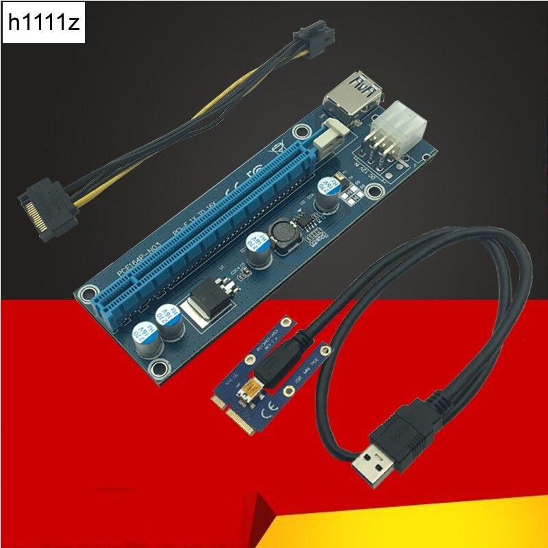 60 cm USB 3,0 Mini PCI-E a PCIe PCI Express 1x a 16x extensor Riser Card Adapter SATA 6Pin Cable de alimentación para Bitcoin BTC Mining