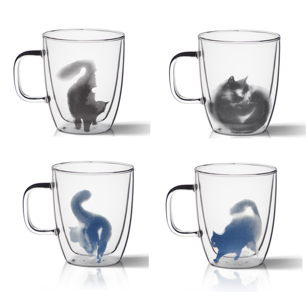 370ML cat coffee mugs tea cups and mugs double wall glass cup office home drinkware friend gifts 13370ML cat coffee mugs tea cups and mugs double wall glass cup office home drinkware friend gifts 13