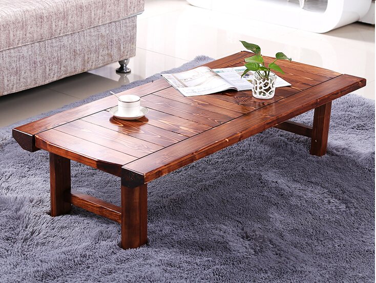 Folding Legs Modern Coffee Table Vintage Wood Furniture Living Room Japanese Low Center Table For Drinking Tea Red Brown Color alluminum alloy magic folding table bronze color magic tricks illusions stage mentalism necessity for magician accessories
