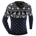 2016 O-pescoço Blusas Elegante Cervos Animal Print Blusas de Malha Camisola Longa Da Luva Dos Homens Camisola Masculino Pullover-Tamanho XXL